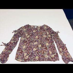 Lavender Floral Tie Top